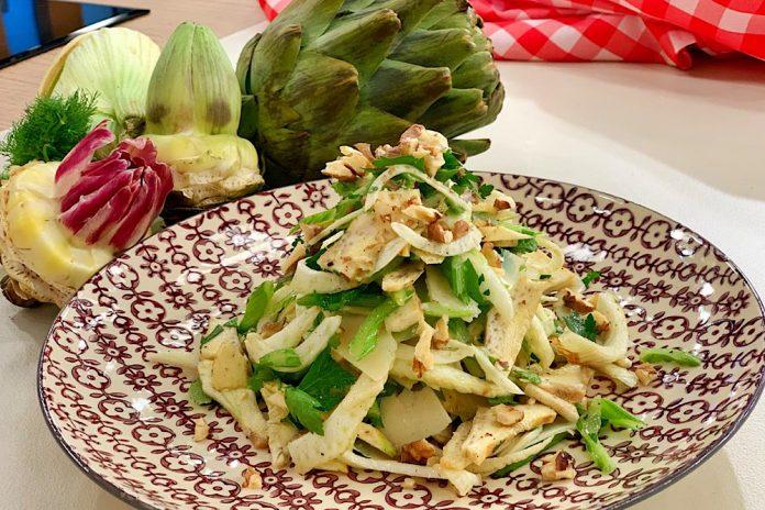 salata me agkinares