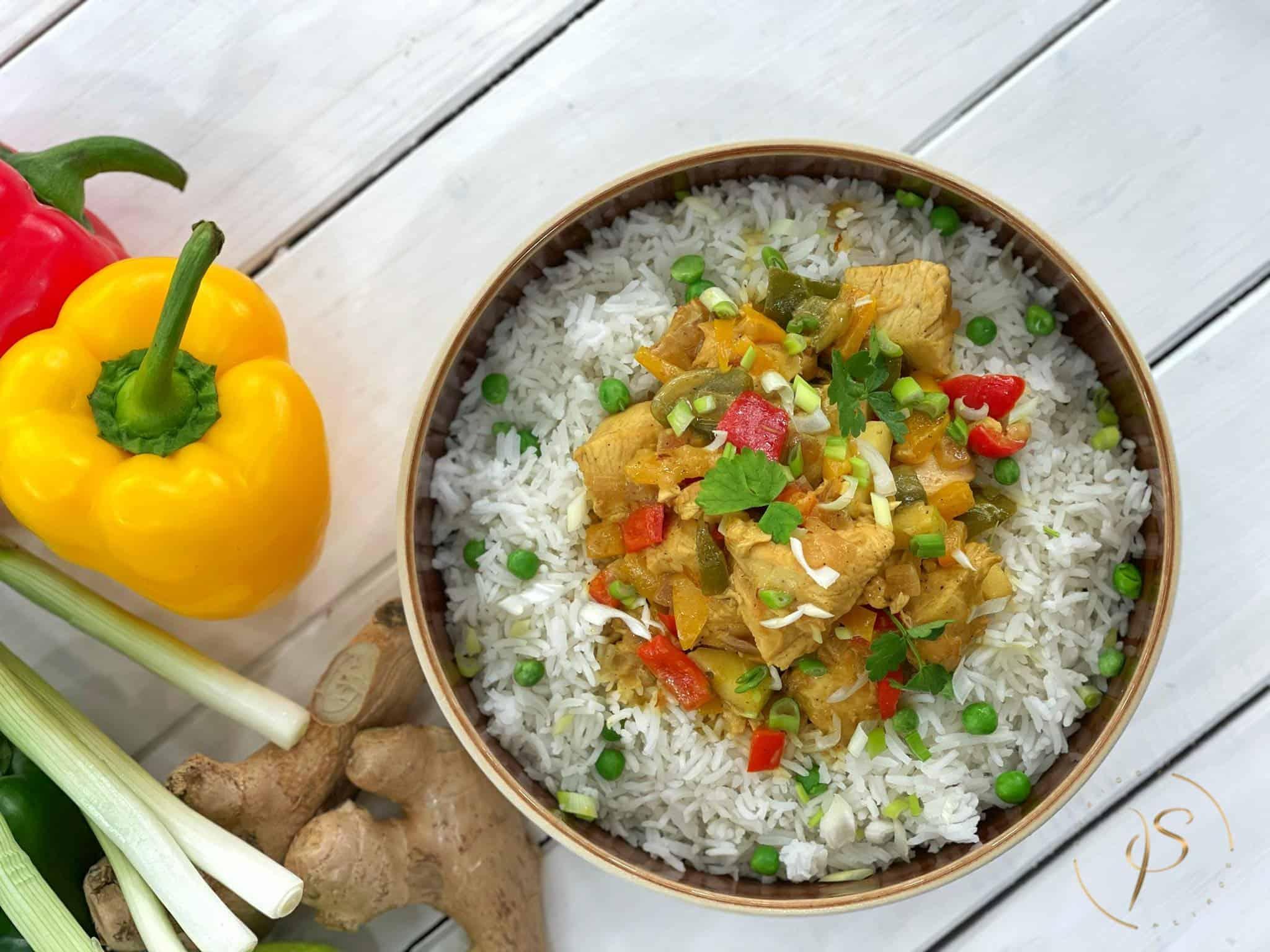 κοτόπουλο με καρυ και ρύζι μπασμάτι