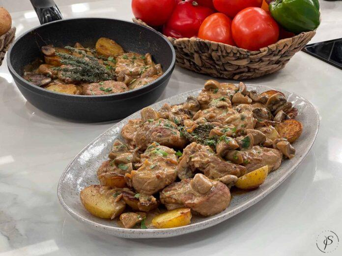 Ψαρονέφρι με μανιτάρια και κρεμώδη σάλτσα μουστάρδας