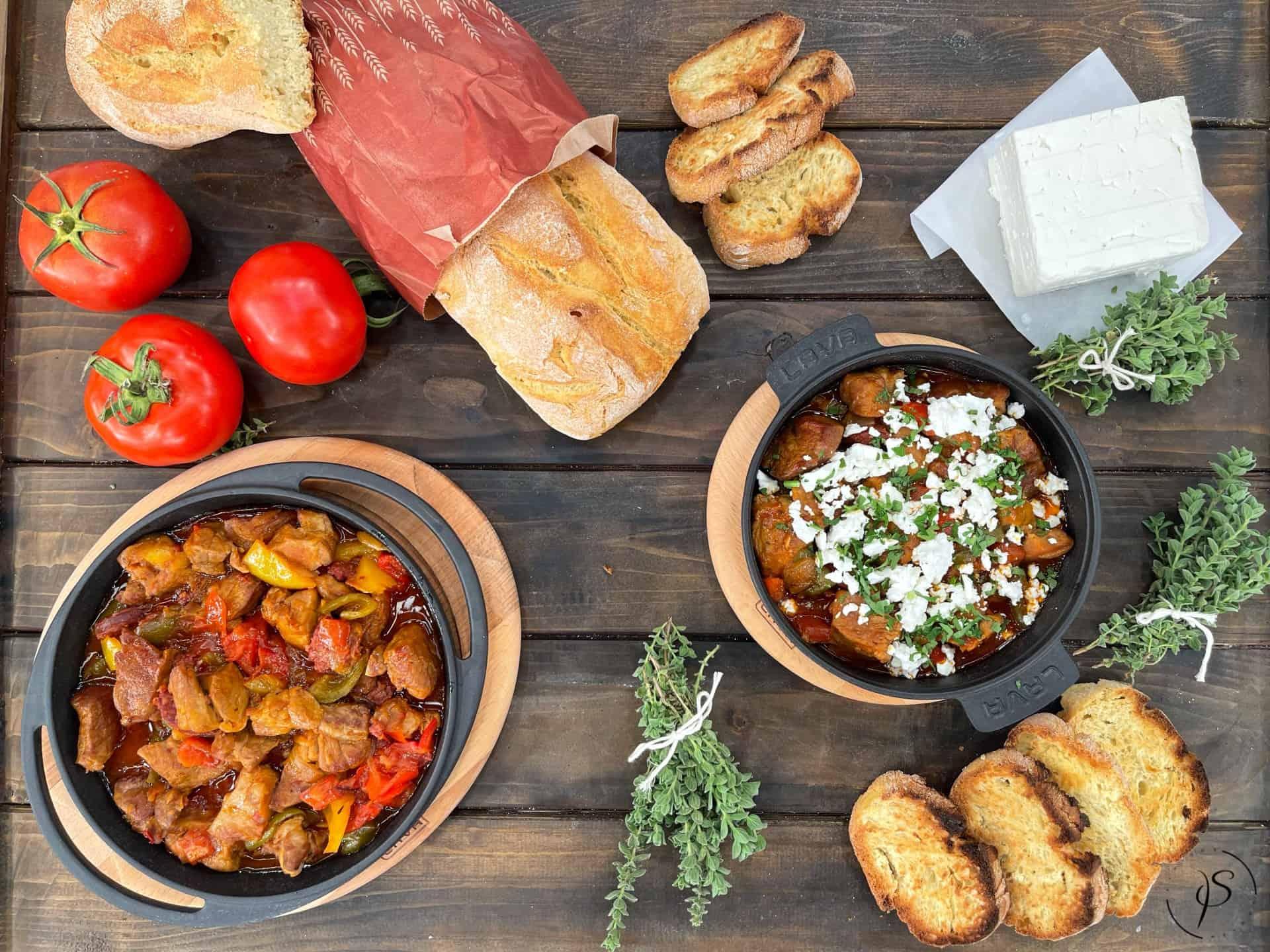 Μπεκρή μεζέ παραδοσιακό με χοιρινό και πικάντικο λουκάνικο